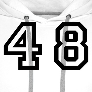 White Number - 48 - Forty Eight Men's T-Shirts - Men's Premium Hoodie