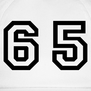 White Number - 65 - Sixty Five Men's T-Shirts - Baseball Cap