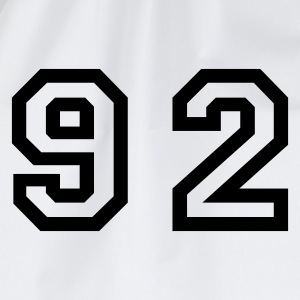 White Number - 92 - Ninety Two Men's T-Shirts - Drawstring Bag