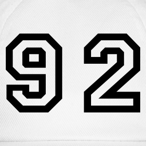 White Number - 92 - Ninety Two Men's T-Shirts - Baseball Cap