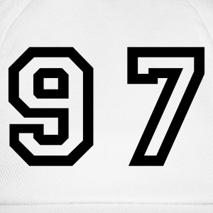 White Number - 97 - Ninety Seven Women's T-Shirts - Baseball Cap