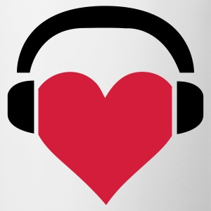 Wit Heart Headphones (2c) T-shirts - Mok