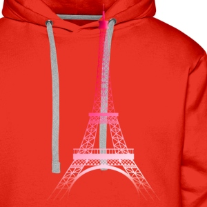 Rouge/blanc Tour Eiffel PARIS (rose) T-shirts - Sweat-shirt à capuche Premium pour hommes