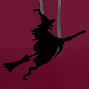Witch with broom Bags  - Contrast Colour Hoodie