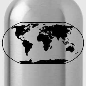 Black World Map Ladies' - Water Bottle