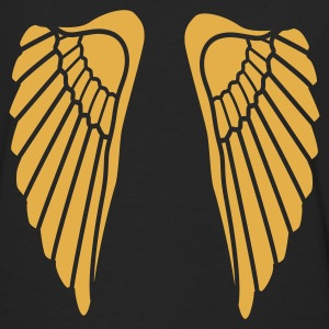 Sort angel wings Damer - Herre premium T-shirt med lange ærmer