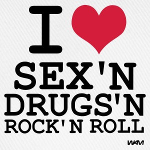 Blanc i love sex and drugs and rock'n roll  T-shirts - Casquette classique