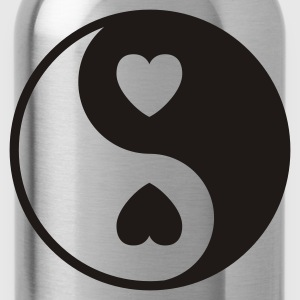 Black Ying Yang Hearts Women's Tees - Water Bottle
