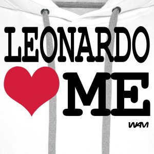 Blanc leonardo loves me by wam T-shirts - Sweat-shirt à capuche Premium pour hommes