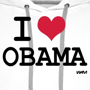 Vit i love obama by wam T-shirts - Premiumluvtröja herr