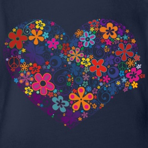 FLOWER POWER HEART - Baby Bio-Kurzarm-Body
