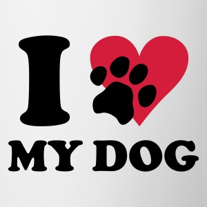Vit I love my dog - Hundar, Hund T-shirts - Mugg
