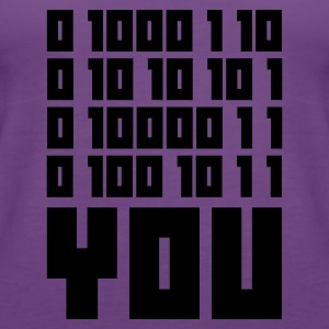 Indigo FUCK YOU - Binary code T-skjorter - Premium singlet for kvinner