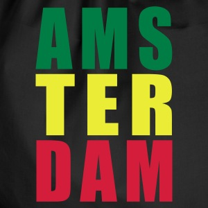 Black Amsterdam Rasta Typo Women's T-Shirts - Drawstring Bag