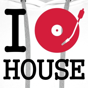 :: I dj / play / listen to house :-: - Sweat-shirt à capuche Premium pour hommes