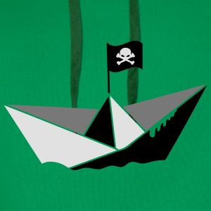 A paper boat with a pirate flag T-Shirts - Men's Premium Hoodie