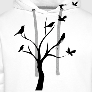 birds in tree T-Shirts - Men's Premium Hoodie