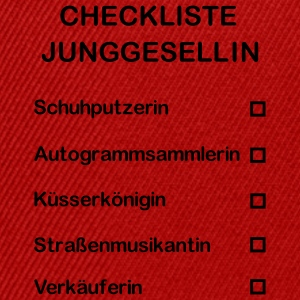 Junggesellin Abschied - Checkliste T-Shirts - Snapback Cap