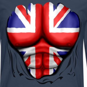 UK Flag Ripped Muscles, six pack, chest t-shirt - Men's Premium Longsleeve Shirt