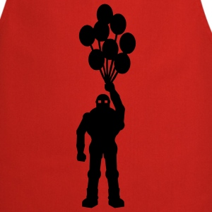 Anti-war temat retro robot med ballongens ballongens science fiction-motiv stencil T-shirts - Förkläde