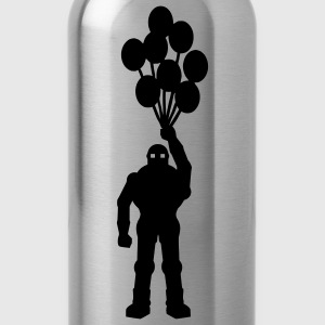 Anti-war theme, retro robot with balloon balloon's science fiction motif stencil T-Shirts - Water Bottle