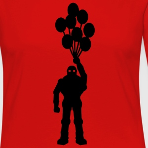 Anti-war temat retro robot med ballongens ballongens science fiction-motiv stencil T-shirts - Långärmad premium-T-shirt dam
