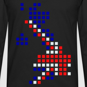 Noir UK - Great Britain flag pixel map T-shirts - T-shirt manches longues Premium Homme