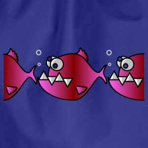 Fish - row - red T-Shirts - back & front - Drawstring Bag