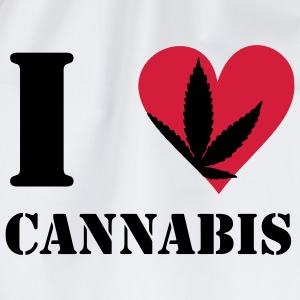 I love cannabis / cannabis hemp leaf I heart to heart T-Shirts - Drawstring Bag