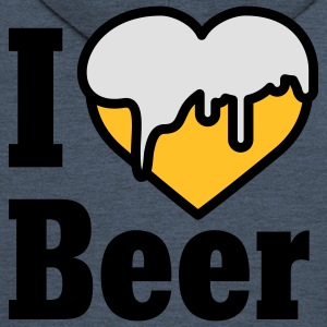 I love Beer | Heart | Beer T-Shirts - Men's Premium Hooded Jacket