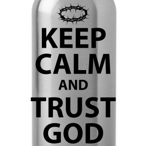 Keep Calm and Trust God - Womens White Text - Water Bottle