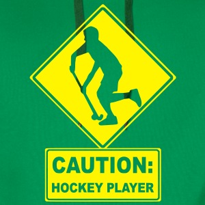 CAUTION: Hockey Player T-Shirts - Men's Premium Hoodie