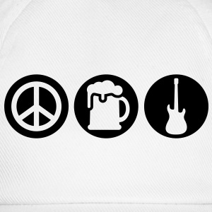 Peace | Beer | Rock | Frieden | Bier | Rock & Roll T-Shirts - Cappello con visiera
