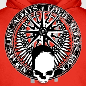 rock_and_roll_and_skull_and_pentagram_bw T-shirts - Mannen Premium hoodie