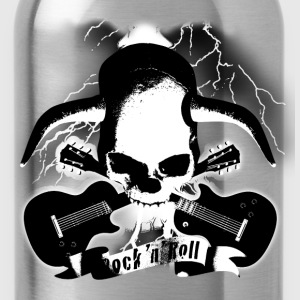 skull_and_horns_and_guitars_b_sw T-Shirts - Water Bottle