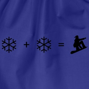 Royal blue Snowboard + snowflake T-Shirts - Drawstring Bag