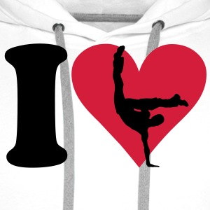 I love Breakdance T-skjorter - Premium hettegenser for menn