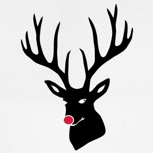 christmas x-mas merry reindeer deer rudolph red nose antlers buck heart T-Shirts - Baseball Cap