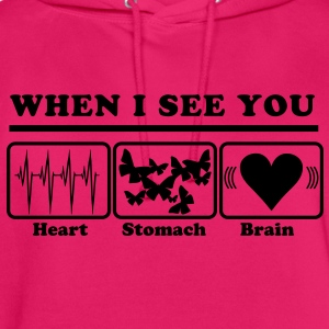 When I see you - Heart/Stomach/Brain = Chaos T-shirts - Hættetrøje unisex