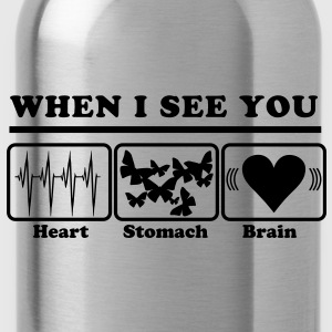 When I see you - Heart/Stomach/Brain = Chaos T-shirts - Drikkeflaske