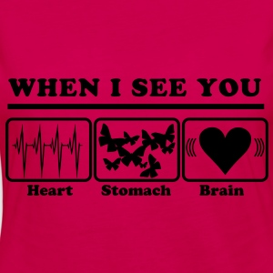 When I see you - Heart/Stomach/Brain = Chaos T-shirts - Dame premium T-shirt med lange ærmer