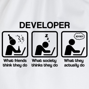 Developer - What my friends think I do T-Shirts - Drawstring Bag