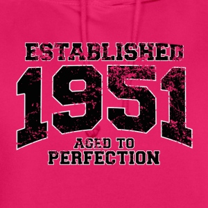 established 1951 - aged to perfection(fr) Tee shirts - Sweat-shirt à capuche unisexe