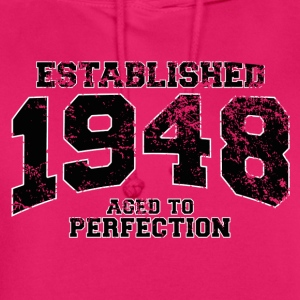 established 1948 - aged to perfection(fr) Tee shirts - Sweat-shirt à capuche unisexe