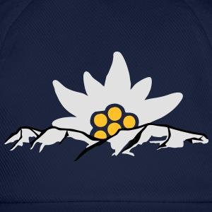 Mountain with Edelweiss Flower 2 T-shirt Tshirt T-Shirts - Baseball Cap