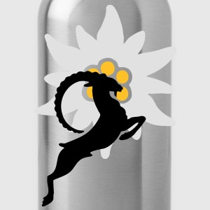 Ibex with Edelweiss  T-Shirts - Water Bottle