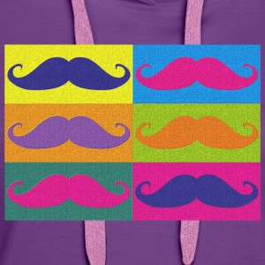 moustaches pop art Tee shirts - Felpa con cappuccio premium da donna