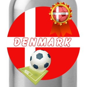 Denmark Football Team Supporter Rosette Ball & Pitch  - Water Bottle