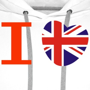 I heart I love Union Jack British flag heart T-Shirts - Men's Premium Hoodie