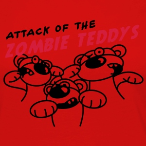 Attack of the Zombie Teddy T-shirts - Dame premium T-shirt med lange ærmer